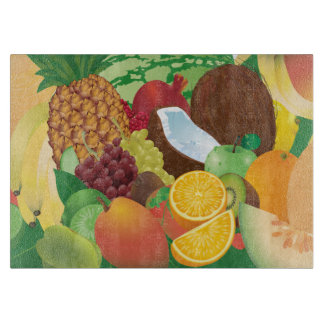 Colorful Tropical Coconut Kitchen Cutting Board