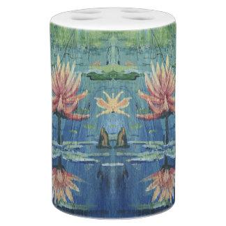 Colorful Tropical Custom Peach Lilies Bathroom Set