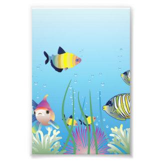 Colorful Tropical Fish & Bubbles Art Photo