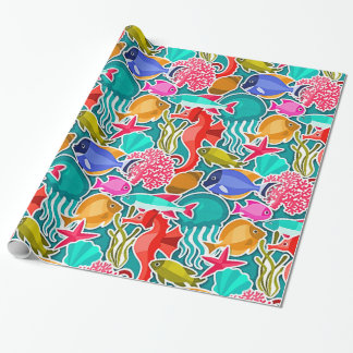 Colorful Tropical Fish Pattern 6 Wrapping Paper