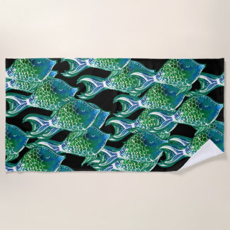 Colorful Tropical Fish Pattern Beach Towel