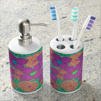 Colorful Tropical Floral Bathroom Set