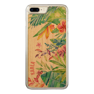 Colorful Tropical Floral Design Carved iPhone 7 Plus Case