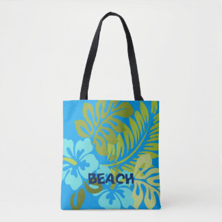 Colorful Tropical floral Hawaiian Hibiscus beach Tote Bag