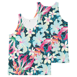 Colorful tropical flowers All-Over-Print tank top