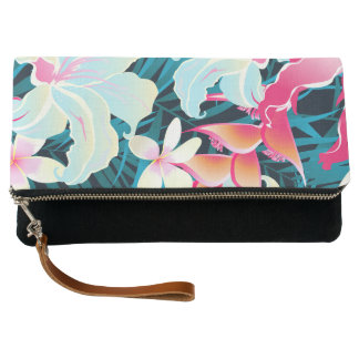 Colorful tropical flowers clutch