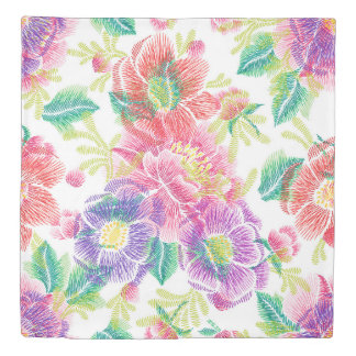 Colorful Tropical Flowers Collage Duvet Cover
