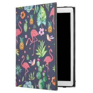 "Colorful Tropical Flowers & Flamingos Flowers iPad Pro 12.9"" Case"