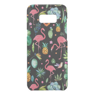 Colorful Tropical Flowers & Flamingos Pattern Uncommon Samsung Galaxy S8 Plus Case