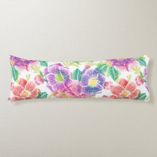 Colorful Tropical Flowers & Leafs Pattern Body Pillow