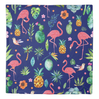 Colorful Tropical Flowers, Leafs & Pink Flamingos Duvet Cover