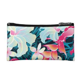 Colorful tropical flowers makeup bag