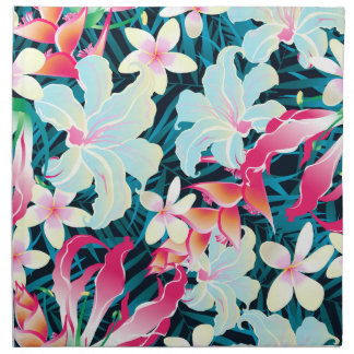 Colorful tropical flowers napkin