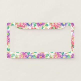 Colorful Tropical Flowers Pattern License Plate Frame