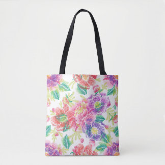 Colorful Tropical Flowers Pattern Tote Bag