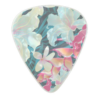 Colorful tropical flowers pearl celluloid guitar pick