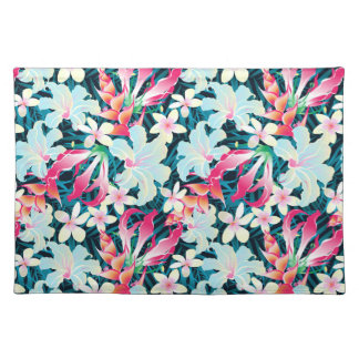 Colorful tropical flowers placemat