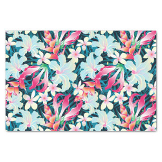 Colorful tropical flowers tissue paper