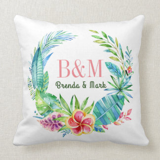 Colorful Tropical Flowers Wreath Throw Pillow