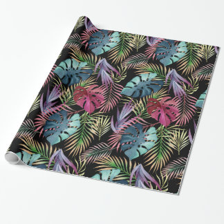 Colorful Tropical Foliage Botanical Pattern Wrapping Paper