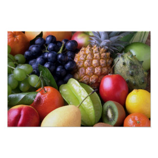 Colorful tropical fruits poster