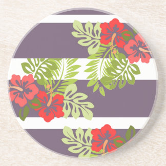 Colorful Tropical Hibiscus Flower Summer Beach Beverage Coaster