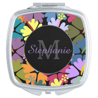 Colorful Tropical Hibiscus Monogram Compact Vanity Mirrors