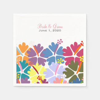 Colorful Tropical Hibiscus White Wedding Napkins Disposable Napkin