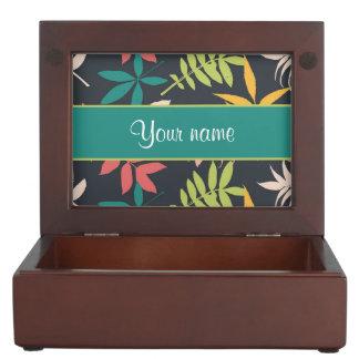 Colorful Tropical Leaves Keepsake Box