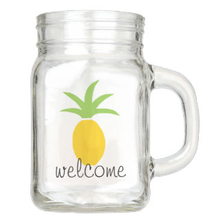 Colorful Tropical Pineapple Welcome Custom Mason Jar