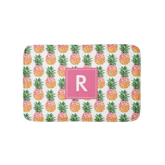 Colorful Tropical Pineapple with Custom Monogram Bath Mat