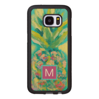 Colorful Tropical Pineapple Wood Samsung Galaxy S7 Case