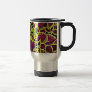 Colorful tropical plant leaves print travel mug