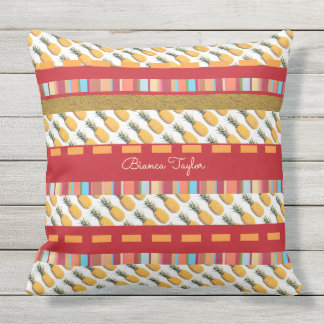 colorful & tropical , stylish & custom , pineapple outdoor pillow