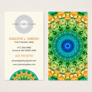 Colorful Tropical Summer Batik-Look Mandala Business Card