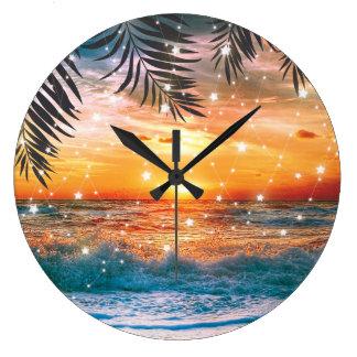 Colorful Tropical Sunset Ocean Beach Large Clock