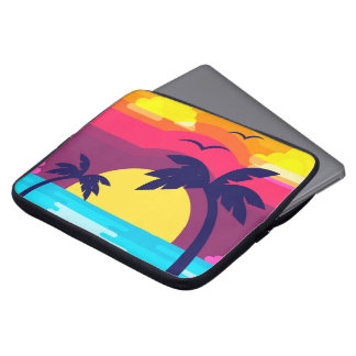 Colorful Tropical Sunset & Palm Tree Laptop Sleeve