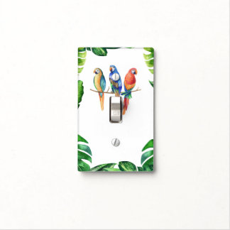Colorful Tropical Tiki Birds Parrots & Leaves Light Switch Cover