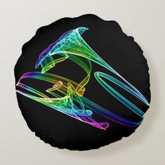 Colorful Trumpet Fractal Round Pillow