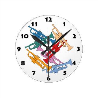 Colorful Trumpet Round Clock