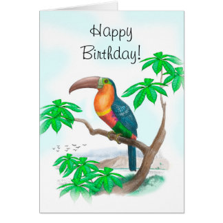 Colorful Tucan Happy Birthday Card