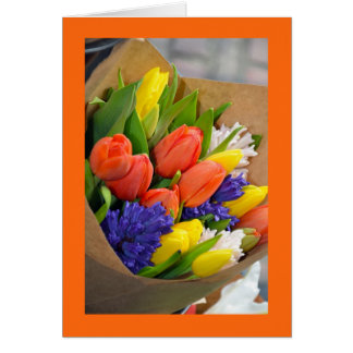 Colorful tulip bouquet greeting card