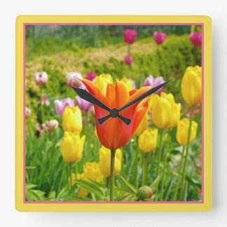 Colorful Tulips_321_B_R2 Square Wall Clock