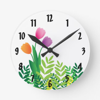 Colorful Tulips and Green Vegetation Round Clock