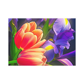 Colorful Tulips and Iris Flowers Canvas Print