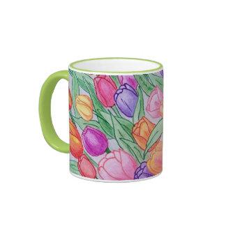Colorful Tulips Drawing Classic 11 oz Mug Green