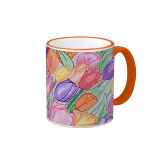 Colorful Tulips Drawing Classic 11 oz Mug Orange