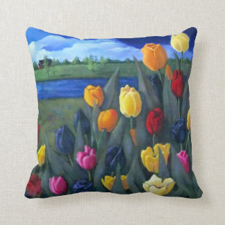 Colorful Tulips: Dutch, Holland: Acrylic Painting Throw Pillow