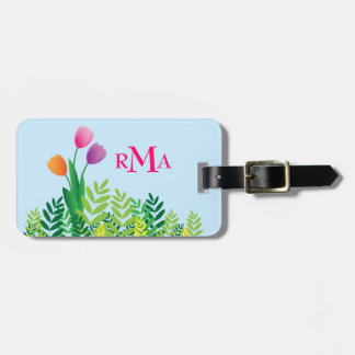 Colorful Tulips, Green Vegetation & Monogram Luggage Tag