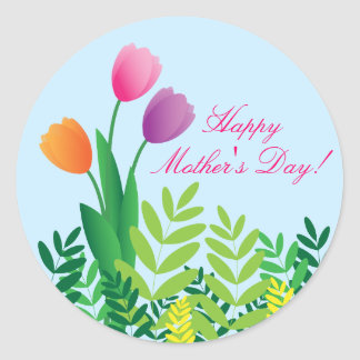 Colorful Tulips, Happy Mother's Day Classic Round Sticker